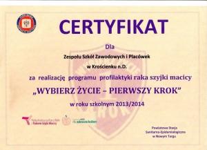 Certyfikat-Wybierz życie